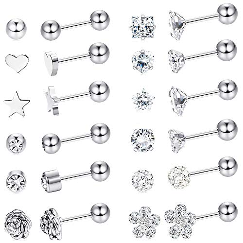 LOYALLOOK 8 Pairs Stainless Steel Ball Stud Earrings Barbell Cartilage Helix Ear Piercing 3-6mm 2 Colors (18G 12 Pairs Silver Tone 4mm)