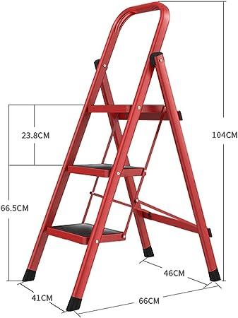 ZHAOYONGLI Taburete Plegable Escaleras de Mano Escaleras Plegables para Uso Doméstico Escaleras Espesadas Escalera Mecánica Pequeña Escalera Multifunción (Color : Rojo, Tamaño : 41 * 66 * 104cm): Amazon.es: Hogar