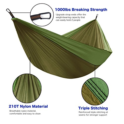 Portable Hammock 16.5oz – 9ft 2in Ultra Small & Lightweight Parachute Nylon Material by Rover Adventure Gear