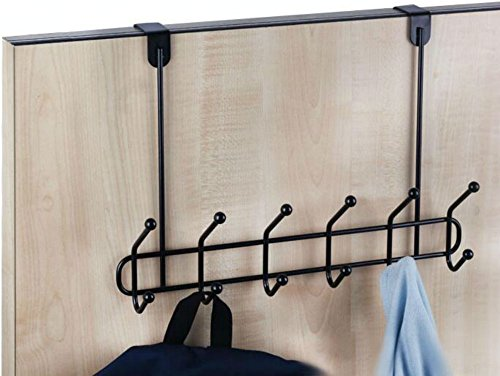 Neat-O Over The Door Hanger 12 Hook Organizer Holder Rack (Black)