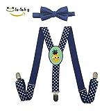 Xiacai Watermelon Love Pineapple Suspender&Bow Tie Set Adjustable Clip-On Y-Suspender Kids