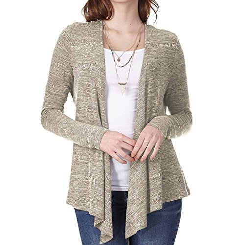 aters for Women,Ladies Pleated Lace-up Open Front Lightweight Jersey Classic Long Sleeve Cardigan ()