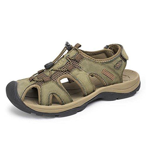 Marcher 45 En En Toe Brides D'été Plage Velcro à EU39 Fermé Taille Voyager KHAKI xie Plein Antidérapant Air Cuir Hommes Chaussures Véritable Sandales Respirantes 38 PWqIBvw