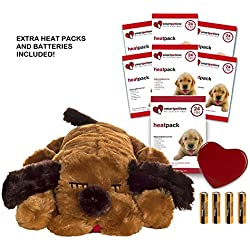 Smart Pet Love Brown Snuggle Puppy Heartbeat Pillow for Dogs PLUS 7 Heat Packs and Extra Batteries
