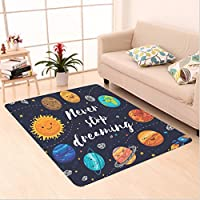 Nalahome Custom carpet Outer Space Planets and Star Cluster Solar System Moon and Comets Sun Cosmos Illustration Multi area rugs for Living Dining Room Bedroom Hallway Office Carpet (4 X 6)