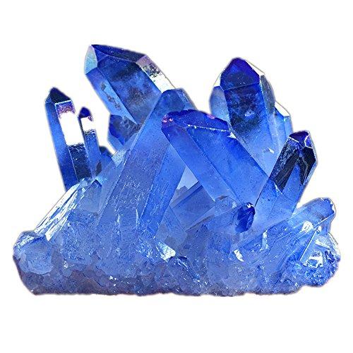 Jrt Natural Blue Crystal Cluster Healing Quartz Drusy Geode Gemstone Irregular Gemstone Specimen Sphere Figurine Office Home Decoration
