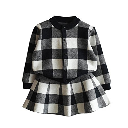 Girls Dress,Haoricu 2017 Hot Sale Autumn Winter Toddler Kids Plaid Knitted Sweater Dress Set Baby Girls Coat Tops+Skirt Set (4T, Black ❤️) Plaid Dress Set