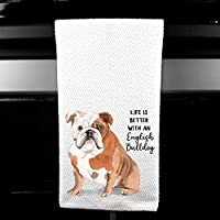Watercolor Life is Better with an English Bulldog Microfiber Kitchen Tea Bar Towel Gift for Animal Dog Lover