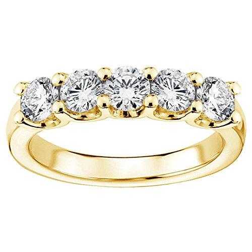 (1.25 CT TW U-Prong Set Round Diamond Anniversary Wedding Ring in 14k Gold - Size 4)