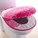 Wayer Toilet cushion,Luxury toilet seat cover 2 Pack set (Lid cover & Tank cover) Bathroom super warm soft comfy -C