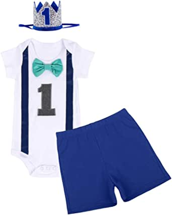 FYMNSI Conjunto de 3 piezas para bebé de 1 año, de algodón, con pajarita de manga corta, pelele + pantalones cortos + corona para la cabeza, disfraz para sesiones de fotos