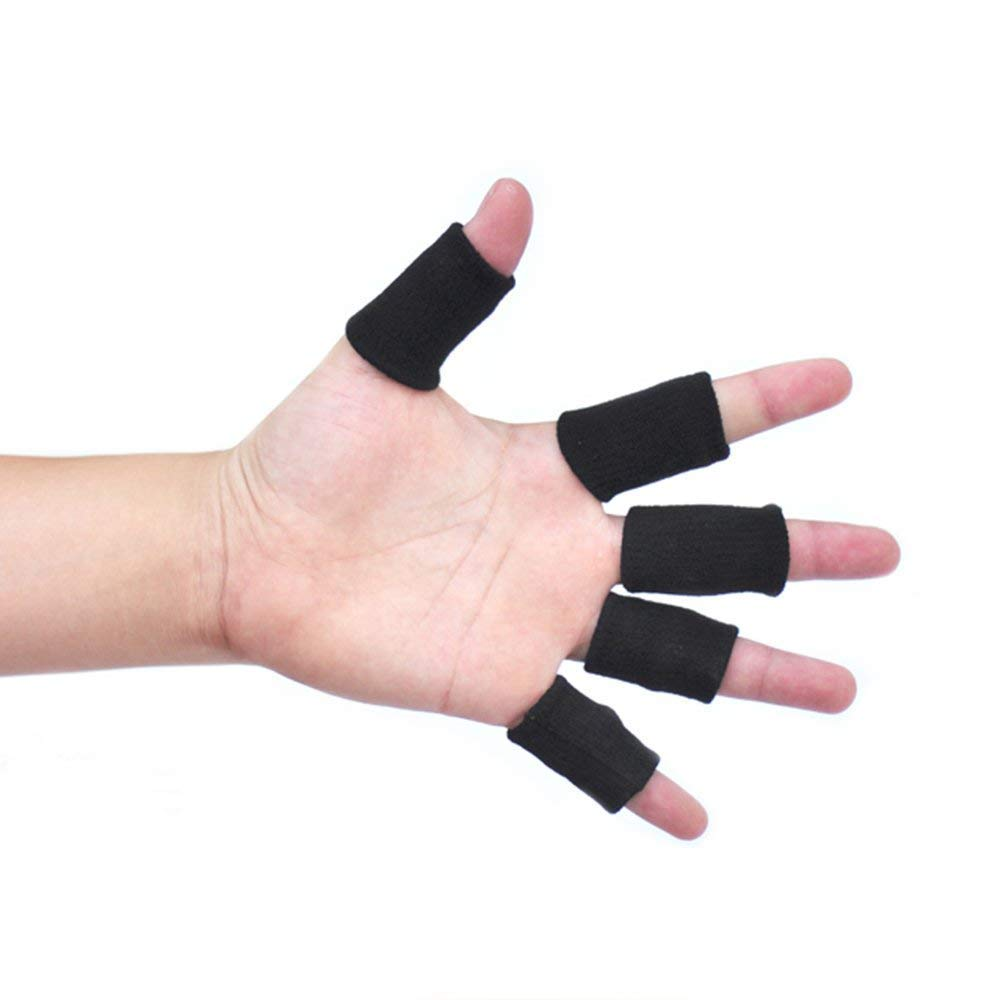 Xeminor Elastic Finger Sleeve Cover Nylon Finger Protector Sleeve Support Stretchy Protection Gloves Finger Guard for Outdoor Sports Black 10 Pcs by Xeminor (Image #5)