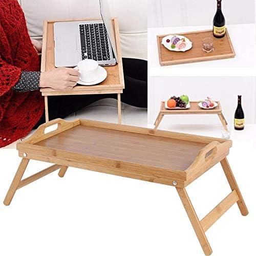 SOULONG Plateau de Petit D/éjeuner au Lit Tablette//Plateau de Lit Service Pliable en Bambou pour Ordinateur Portable Lecture