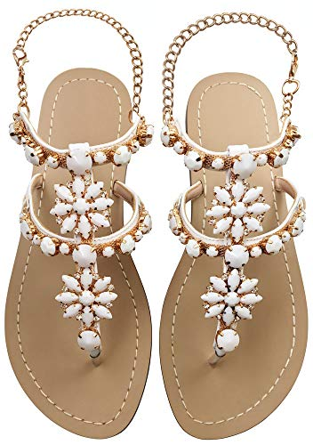 - JF shoes Women's Crystal with Rhinestone Bohemia Flip Flops Summer Beach T-Strap Flat Sandals Size 6.5-7 White
