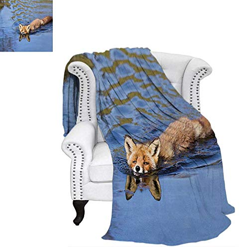 """Warm Microfiber All Season Blanket for Bed or Couch Cute Fox Swimming in Blue River Natural Life Mammal Wild Animal Image Print Throw Blanket 70""""x50"""" Pale Blue Brown Cream"""