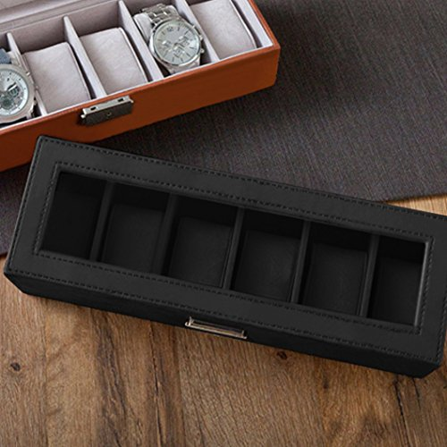 SWEETV Large Watch Organizer for Men - 6 Watches Slots, Luxury Faux Leather Watch Boxes Jewelry Display Case Storage w/Glass Top, Lockable Metal Buckle, Black