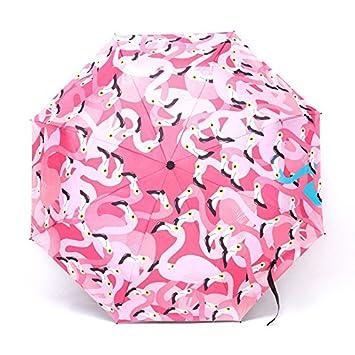 Farway - Paraguas de Lluvia Plegable con Parasol de Flamenco (3 Pliegues, Protección UV