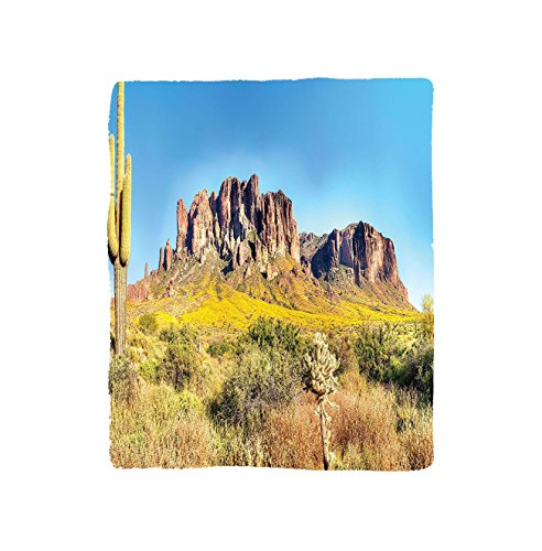 VROSELV Custom Blanket Saguaro Cactus Blooming Brittlebush Superstition Wilderness by the Mountain Phoenix View Bedroom Living Room Dorm Orange Brown