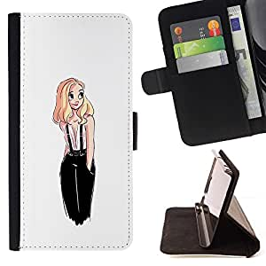 Momo Phone Case / Flip Funda de Cuero Case Cover - Dulce lindo dibujo White Girl Rubio - Samsung Galaxy J1 J100