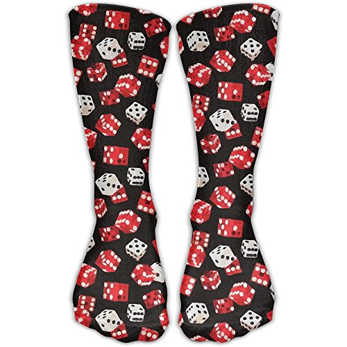 Unisex Dice Gambling Las Vegas High Stockings Below Knee High Socks Running Athletic Socks For Women & Men Size - Vegas Jogging Las