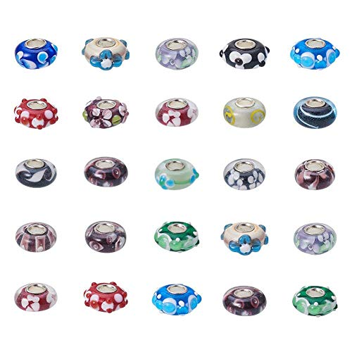 Pandahall 50PCS 14x8mm Handmade Lampwork European Beads Rondelle Beads with Single Silver Color Cupronickel Core, Mixed Color