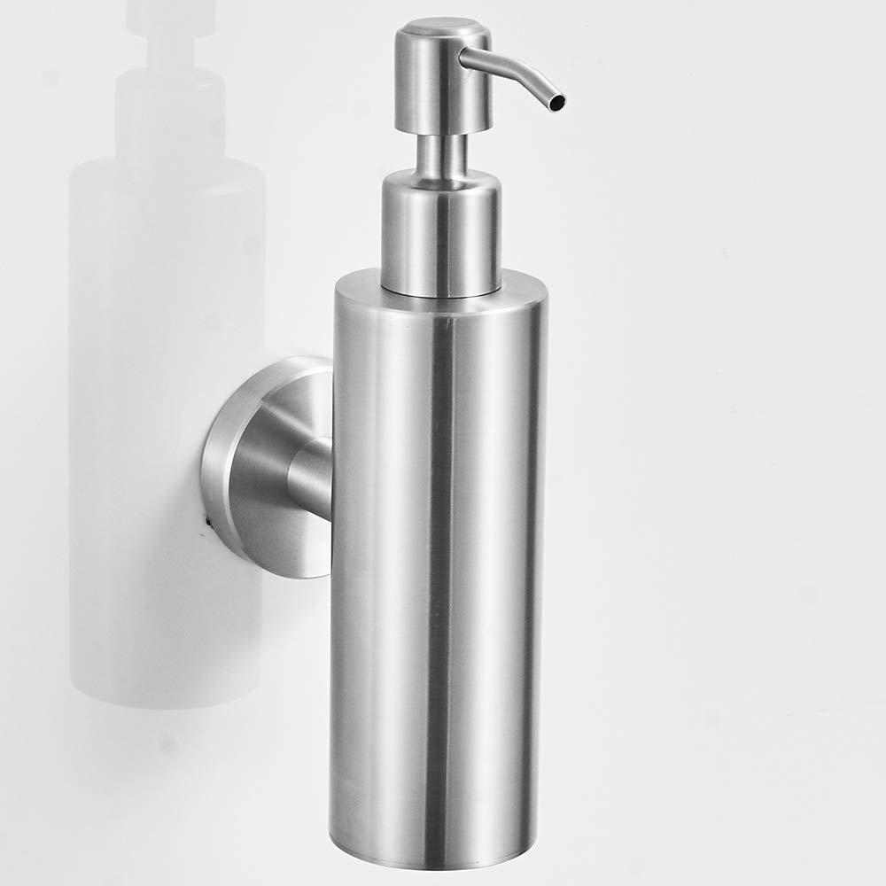 VELIMAX 18/8 Stainless Steel Liquid Soap Dispenser Hand Soap Dispenser Shampoo Lotion Pump Dispenser Wall Mount for Bathroom Kitchen Round Brushed