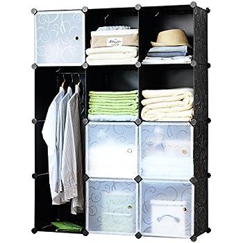 Finnhomy DIY 12 Cube Organizer Storage Cabinet Bookcase Storage Organizer  Shoes Storage Modular Storage Cabinet Wardrobe
