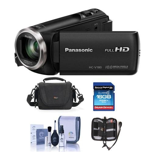 Panasonic HC-V180K Full HD Camcorder with 50x Stabilized Optical Zoom - Bundle with Video Bag, 16GB SDHC Card, Cleaning Kit, Memory Wallet