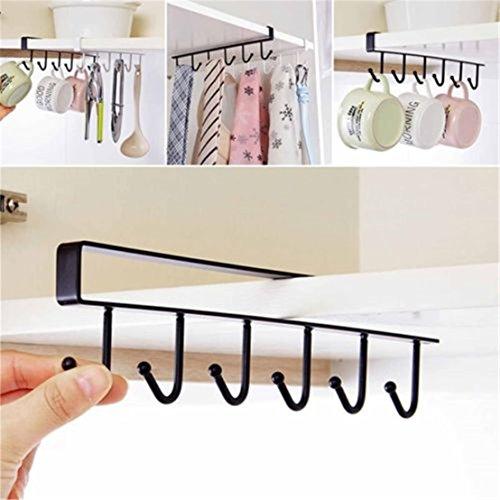 UNKE 6 Hooks Dainty Little Tea Cup Holder Hang Kitchen Cabinet Under Shelf Storage Rack Organizer Tool