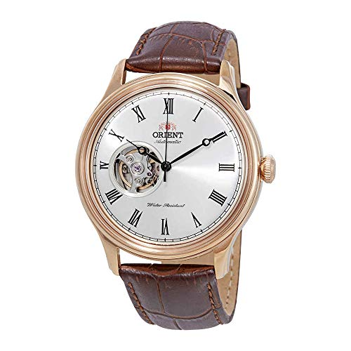 Orient Men's Envoy Japanese Automatic/Hand Winding Movement Stainless Steel Leather Dress Watch, White Rose Gold Leather AG00001S