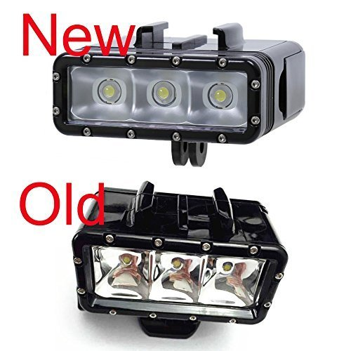 NEWEST Accessories For Go Pro Underwater Diving Light waterproof LED video light + buckle mount For GoPro Session/Hero4/3+/3/Xiaomi,Double battery,Black by Probty