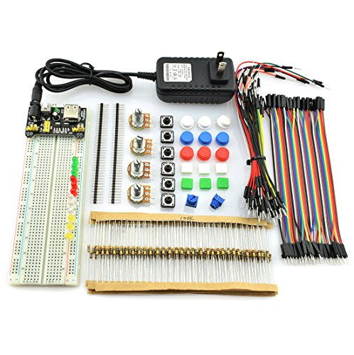 HJ Garden 7 IN 1 Common Electronics Fun Kit 12V 1A Power Supply Adapter, Voltage Converter Module, 830 Point Breadboard, Potentionmeter, Jumper, Resistor, Touch Switch For Arduino, 3D Printer
