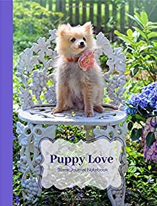 Puppy Love Blank Journal Notebook: Composition Book Size Feat. Pomeranian Puppy Dog with Purple Flowers Wrought Iron Chair for Diary Journaling To-do lists Gratitude list Dog lovers Students Teachers