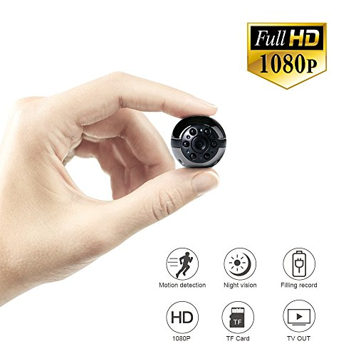 Mini Hidden Spy Camera 1080P/720P Full HD, UYIKOO 6 LED Infrared Night Vision Motion Detection Portable Camera Home Surveillance Camera Nanny Cam