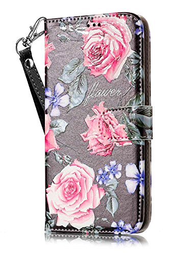 iPhone 8 Wallet Case, iPhone 7 Flip Cover, JanCalm PU Leather Wallet Case with [Detachable Wrist Strap][Multi Card/Cash Slots] Stand Flip Magnetic Cover + Crystal Pen (Black/Flower)