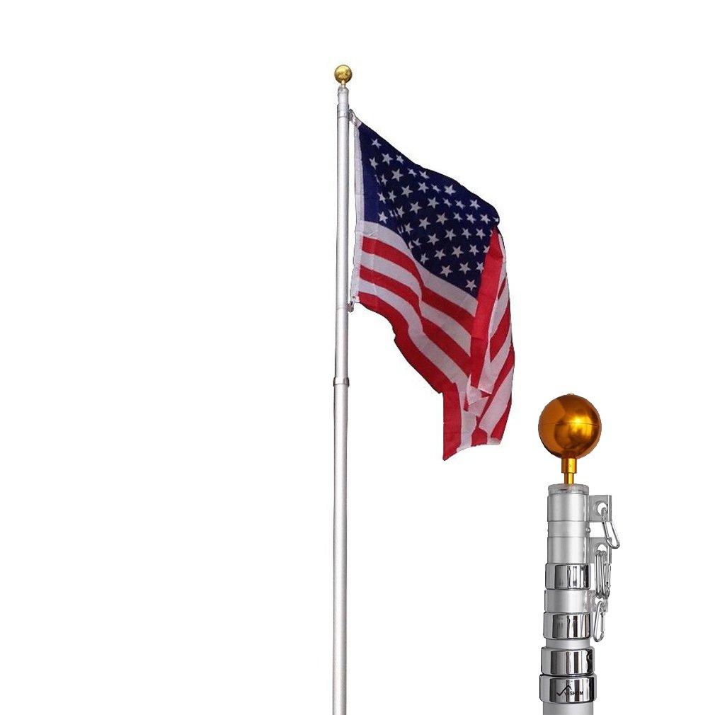 BestMassage 25feet Telescopic Aluminum Flag Pole 3'x5' US Flag and Ball Top Kit Telescoping Flagpole Fly 2 Flags