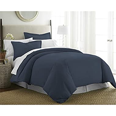 Beckham Hotel Collection Luxury Soft Brushed 1800 Series Microfiber Duvet Cover Set - Hypoallergenic - Full/Queen, Navy