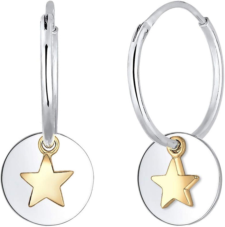 Elli Ohrringe Creolen Sterne Astro Geo Coin Bi Color 925 Silber