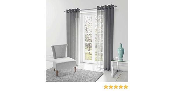 Par de cortinas Chicago transparentes de gasa con estampado metálico de lunares, paneles de ojales y anillas; colores gris y plateado, Gris, 57