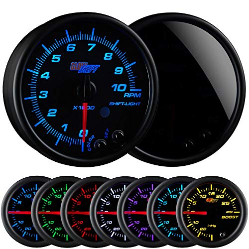 GlowShift Tinted 7 Color 10,000 RPM Tachometer Gauge - for 1-10 Cylinder Gas Powered Engines - Built-in Shift Light - Mounts in Custom Dashboard - Black Dial - Smoked Lens - 3-3/4 95mm