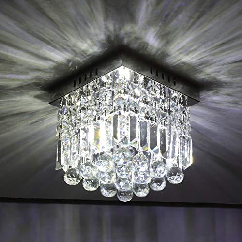 Amber Raindrop Chandelier - HOHNK Crystal Raindrop Chandelier Lighting LED Flush Mount Ceiling Lights Fixture Pendant Lamp for Dining Room Bathroom Bedroom Livingroom