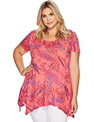 Extra Fresh by Fresh Produce Womens Plus Size Bright Botanical Vintage Drape Tee