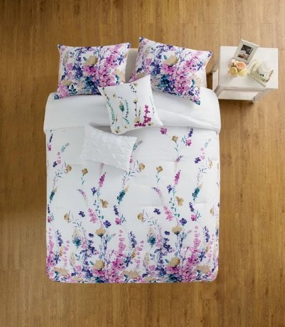 4 Piece Girls Flower Themed Comforter Twin XL Set, Pretty Girly All Over Floral Bedding, Beautiful Leaf Flowers Pattern, Stylish Chic Garden Theme Design, White Teal Blue Pink Lavender Purple Yellow (Pink Pattern Teal)