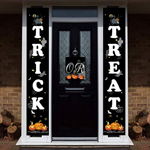 Halloween Trick or Treat Banner Halloween Porch Hanging Banner for Front Door Signs Decoration with Pumpkin Bat & Rip Design Halloween Banners ()
