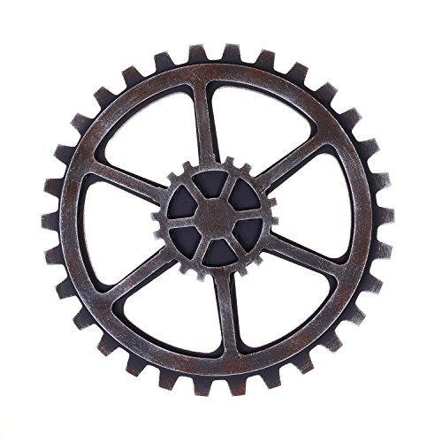Kloud City 9.5 Round Antique Silver Color Suspensible Gear for Home, Wall , Bar Decoration Decor