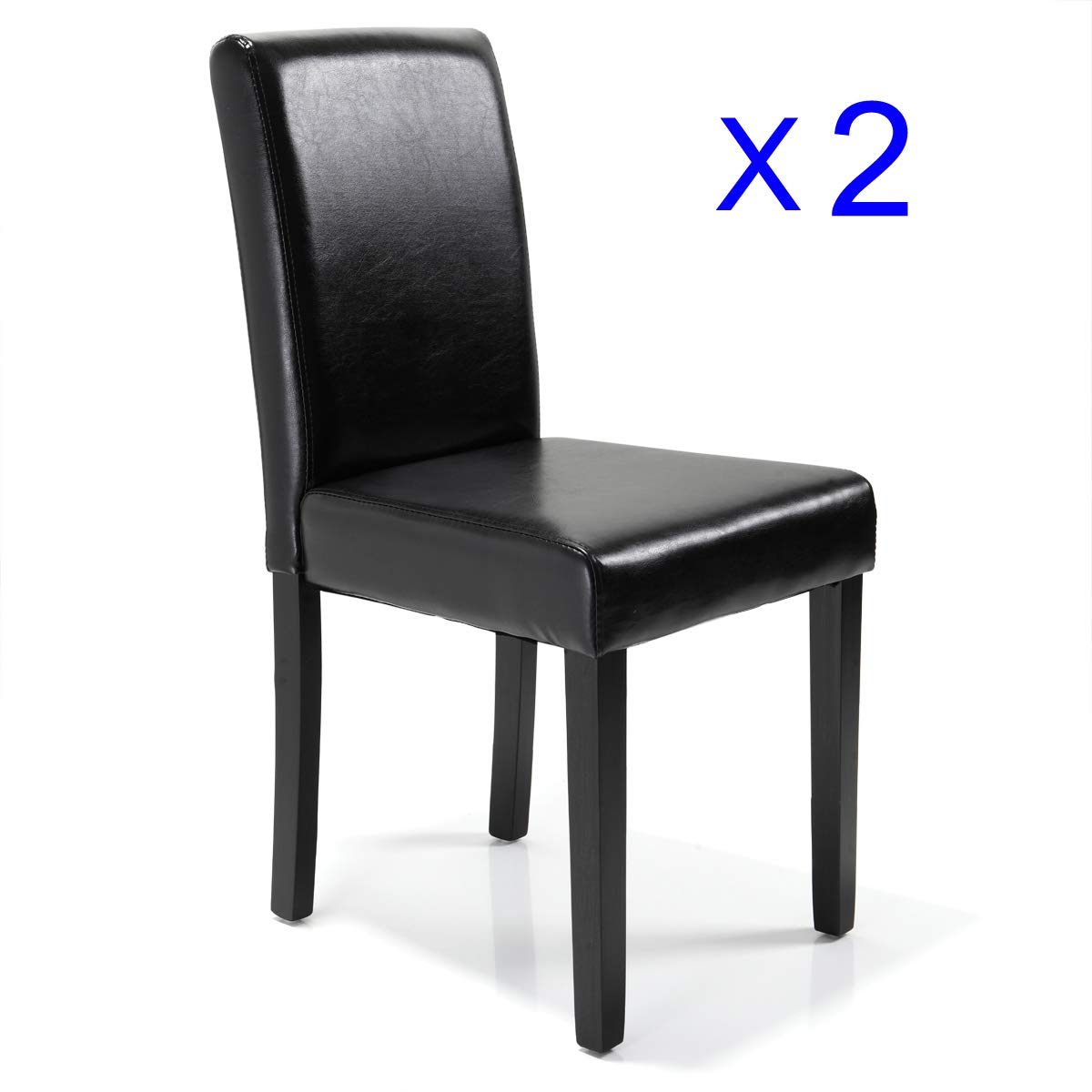 JAXPETY Set of 2 Urban Style Leather Dining Chairs Solid Wood Legs Chair Black
