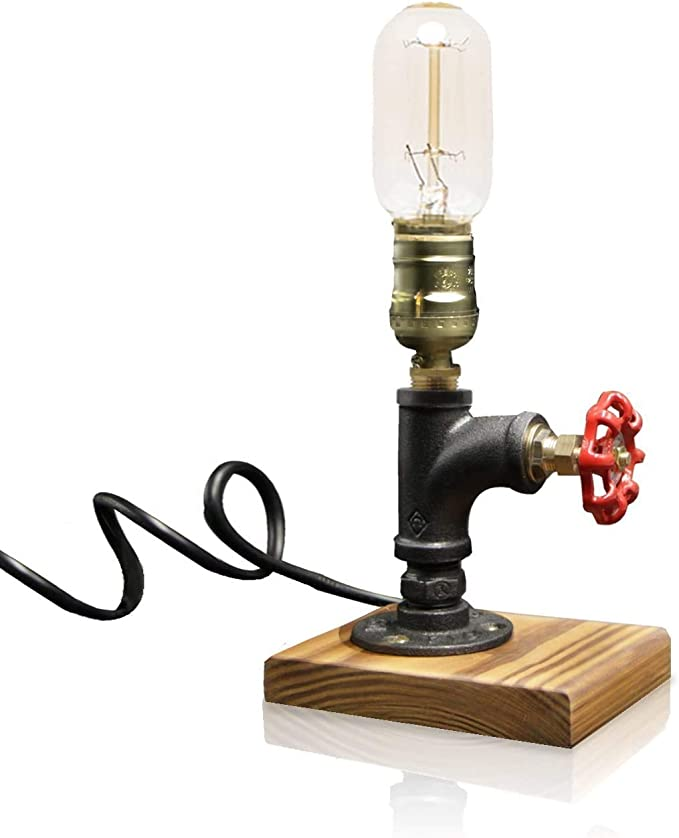 Handcrafted Retro style Industrial 2 bulb Lamp,Desk,Table,Bedroom,Antique lamp mounted on a beautiful pine board