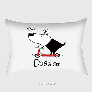 Custom almohada de raso pantalla perro y pájaro montar una moto Vector ilustración 486015799 funda de almohada cubre decorativo: Amazon.es: Hogar