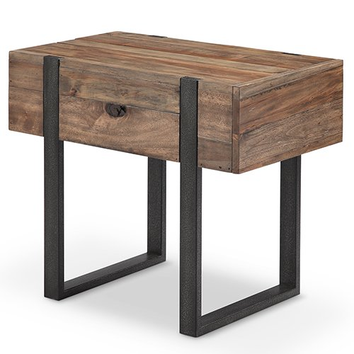 Cheap Prescott Modern Reclaimed Wood Chairside End Table in Rustic Honey