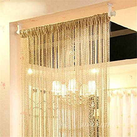 Generic Curtain Silver Silk Tassel String 200cm X 100cm Door Window Living Room Divider Valance